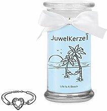 JuwelKerze Life is a Beach - Duftkerze im Glas mit