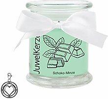 JuwelKerze Schoko Minze - Kerze im Glas mit