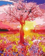 JUZIZHI DIY Ölgemälde Rosa Gartenbaum Für