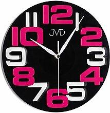 JVD H107.4 Wanduhr Quarz analog schwarz pink rund modern