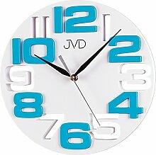 JVD H107.6 Wanduhr Quarz analog weiß türkis rund
