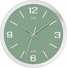 JVD N27033.6 Wanduhr Quarz analog grün Spiegel Optik rund mit Glas