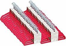 JVL Kleiderbügel, schlankes Design, Samt, platzsparend, rutschfest, Pink, Textil, hot pink, Pack of 200