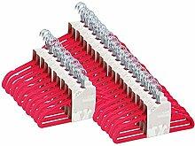 JVL Kleiderbügel, schlankes Design, Samt, platzsparend, rutschfest, Pink, hot pink, Pack of 150