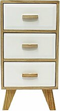 JVL Paulownia Retro Weiß natur Holz 3Schubladen schmal bedisde Tisch, Holz, natur, weiß