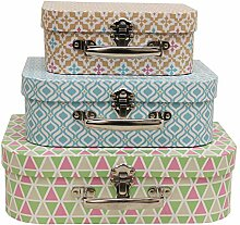 JVL Retro Geometrische Boudoir-Koffer-Stil-Boxen,