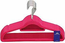 JVL Simple-Kollektion Velvet Touch dünn platzsparend rutschfest Kleiderbügel 50Stück, recyceltem ABS Kunststoff, Nylon, Zink, Pink, 41, 5x 0,5x 22,5cm