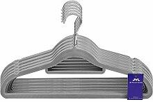 JVL Simple-Kollektion Velvet Touch dünn platzsparend rutschfest Kleiderbügel 50Stück, recyceltem ABS Kunststoff, Nylon, Zink, grau, 41, 5x 0,5x 22,5cm