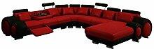 JVmoebel Braun/Beige Sofa Leder, 200 x 90 x 90 cm