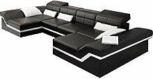 JVmoebel Braun/Weiß Sofa Leder, 175 x 90 x 90 cm