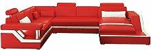 JVmoebel DESIGN WOHNLANDSCHAFT LEDERSOFA HAMBURG, Weiß/Rot, 277x368x207 oder 207x368x288, Leder