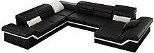 JVmoebel Dunkelbraun/Weiß Sofa Leder, 175 x 90 x 90 cm