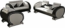JVmoebel Grau/Weiß Sofa Lederimitat, 204 x 90 x 90 cm