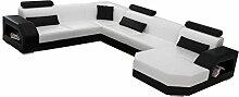 JVmoebel LEDERSOFA XXL DESIGNER WOHNLANDSCHAFT LINZ I, Weiß/Rot, 276x350x200 oder 200x350x276, Lederimita