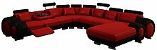 JVmoebel Rot/Schwarz Sofa Lederimitat, 200 x 90 x 90 cm