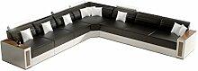 JVmoebel Schwarz/Weiß Sofa Lederimitat, 200 x 85 x 85 cm