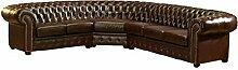 JVmoebel SS11BraunKL Sofa, Lederimitat, antikbraun, 308 x 245 x 90 cm