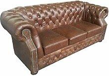JVmoebel SS20BraunKL Sofa, Lederimitat, antikbraun, 206 x 92 x 76 cm