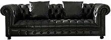 JVmoebel SS38SchwarzL Sofa, Leder, schwarz, 206 x 120 x 80 cm