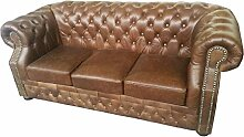 JVmoebel SS46BraunKL Sofa, Lederimitat, antikbraun, 206 x 90 x 80 cm