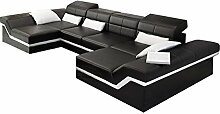 JVmoebel Weiß/Dunkelbraun Sofa Leder, 175 x 90 x 90 cm