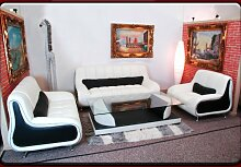 JVmoebel Weiß/Rot Sofa Leder, 190 x 85 x 85 cm