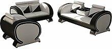 JVmoebel Weiß/Schwarz Sofa Lederimitat, 204 x 90 x 90 cm