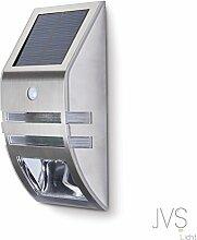 JVS-LICHT Solarleuchte 0.6W Kaltweiss (6000k) mit Bewegungsmelder Außen LED Solarleuchten Außenleuchte Wandleuchte für Terrasse Zaun Treppen Auffahrt Garten - mit Edelstahl Gehäuse (Silber) (1 Stück)