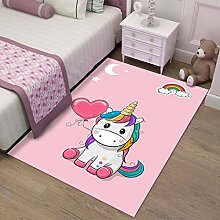 JWANS Schlafzimmer Teppich Cute Unicorn Anti Slip