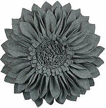 JWH 3D Sunflower Wolle Kissen Hochzeit Deko Home Stuhl Überwurf Kissen Kaffee Auto Sofa Accent Kissen, dunkelgrau, 18 Inch / 45 cm
