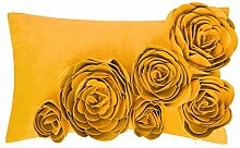 JWH handgefertigt 3D Rose Kissen Blumen Samt Hochzeit Home Kissenbezug Sofa Auto dekorative werfen Accent Kissenbezüge pillowslip LOVE12X 50,8cm, gelb, 12x20 Inch