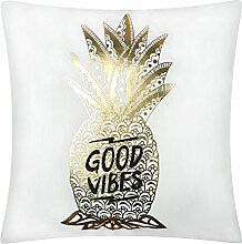 JWH Weihnachtsbäume Gold Foliendruck Samt Kissen Dekoratives Kissen Shell Home Auto Outdoor Sofa Decro Kissen Sham quadratisch pillowslip 40,6 x 40,6 cm, Polyester, Ananas, 18x18 Inch