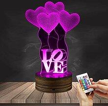 JWL 3D Acryl Tisch Lampe Love Ballon Vision Light