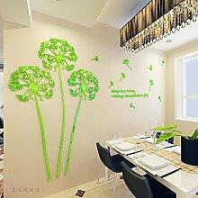 JWQT Löwenzahn kreative stereoskopischen 3D-Wall Sticker, Wohnzimmer Restaurant Fernseher Sofa Hintergrund Wandspiegel silber Acryl Dekoration, Grün auf der linken Seite, Kleine