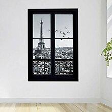 JXAA Wandtattoos Paris City Abnehmbare 3D Fenster
