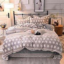 JXBoos Zweiseitige Flanell Coral Fleece Bettbezug,