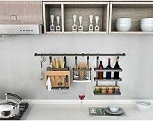 JXLBB Küchenregal Edelstahl mit Haken Schwarz