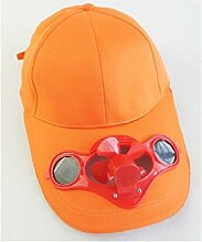 JXY Solar Ventilator mit gekühlt Baseball-Mütze w/Solar Panel auf vor-Schutz ECO FRIENDLY Camping Unterwegs (Orange)
