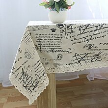 JY$ZB Alphabet-Tischdecken fleckabweisend Tuch aus Baumwolle, Leinen Tischläufer Tischdecke Tisch , 140*160
