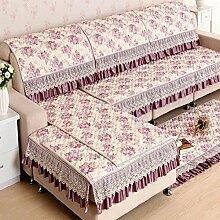 JY$ZB Pastoral Sofa Handtuch All-Saison Möbel Protector Sofa Protector Sofa rutschfeste Sofa Deckel elastische Sofa Handtuch , lila , 90*240cm