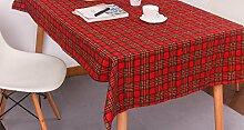JY$ZB Red karierten Tischdecke Hotel Hochzeit Gartentischdecke Stützkissen Kissen Staubtuch Tischdecke Tuch , 140*220cm