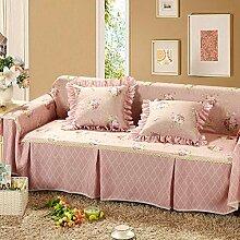 JY$ZB Rutschfeste Sofaabdeckung Sofa-Kombination Handtuch Single / Two / Three / Vier-Sitz Rosa Plain Couch Cover , 215*350Sofa Cover