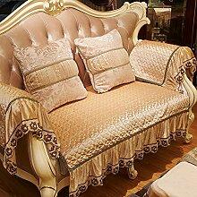 JY$ZB Sofa-Möbel-Schutz Anti-Blockier-System Helle Seide Sofa Handtuch mit Spitze Liangsi dicke warme Sofabezug , camel , 110*210