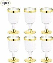 JYJQZ Rotweinglas 6 Teile/Los 190 Ml Einweg Silber