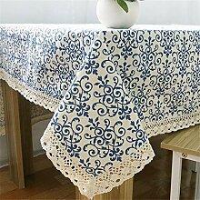 JYJSYMMG Tischdecke Vintage blau und weiß