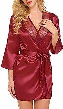 JYY Damen Morgenmantel Kimono Bademantel Satin