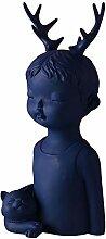 JYY Dekoskulptur Resin Statue Handcrafted Boy