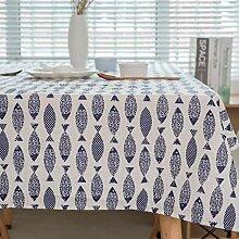 JYYA Blue Fish Tischdecke aus japanischer