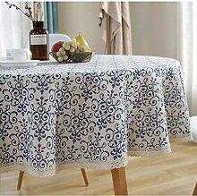 JYYA Retro runde Tischdecke Baumwolle blau blau