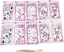 JZK 10 Blätter bunt Kristall Aufkleber + Pinzette, rund Steine selbstklebend Strass Bling Edelstein Dekoration für DIY Nagel Gesicht Kunsthandwerk Scrapbooking Basteln